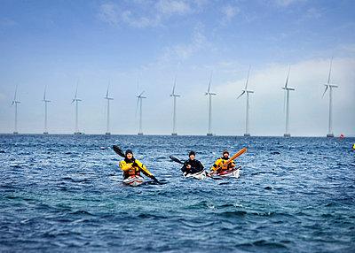 3 kayaks in front of Mills - p42913670f by Soren Hald