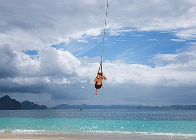Girl in Rope Swing - p1503m2015907 by Deb Schwedhelm