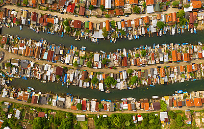 Aerial view of drone to fishing village on the seashore - p1596m2185682 by Nikola Spasov