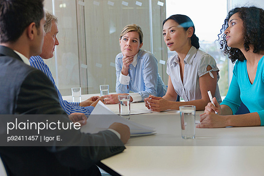 Office workers in meeting in office