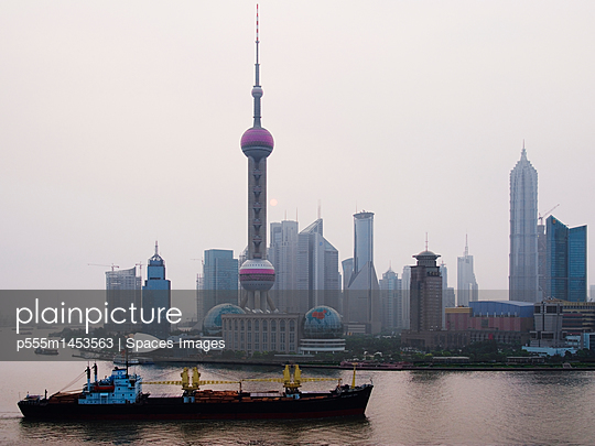 Traffic on Huang Pu River at Sunrise