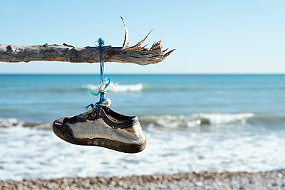Old sneaker hanging from a branch on a loneliness beach - p1423m2164196 by JUAN MOYANO