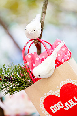 Christmas decoration with gift bag, birds and pine twig - p312m1551866 by Johner Images