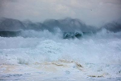 Brechende Wellen am Strand von Nazaré - p719m2081939 von Rudi Sebastian