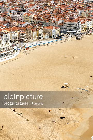 View of Nazaré beach, aerial view - p1032m2182061 by Fuercho