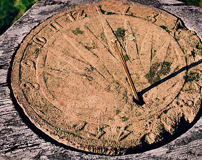 High angle view of sundial - p312m710657f by Bruno Ehrs