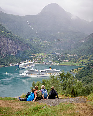 Cruise ship in Norway - p1124m933541 by Willing-Holtz