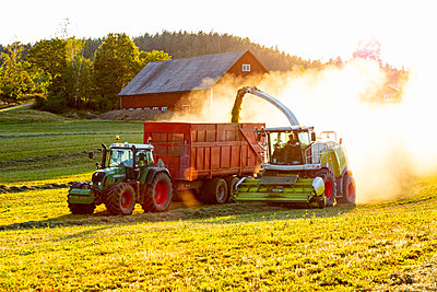 Forage harvester and tractor on field - p312m2217074 by Thomas Adolfsén