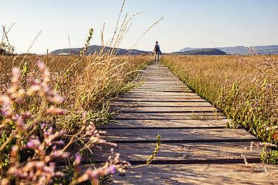 Greece, Messenia, Gialova Lagoon, hiker on the nature trail - p300m2103344 by Maria Maar