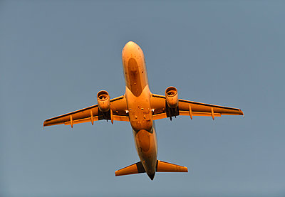 Airbus A320 airliner flying - p1048m2035847 by Mark Wagner