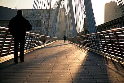 Morning footbridge - p1072m905376 by Michael Steel