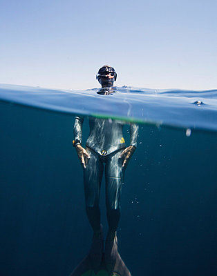 Free Diver Floating - p6940265 by Andrew Geiger