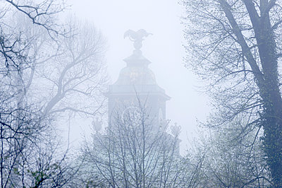 Tower of the Picture Gallery in the Fog, Park Sanssouci, Potsdam, Brandenburg, Germany - p1316m1422457 by Ulf Böttcher