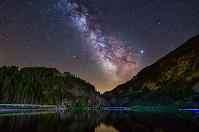 Night  astrophotography. Milky Way  over Pyrenees - p1166m2130536 by Cavan Images
