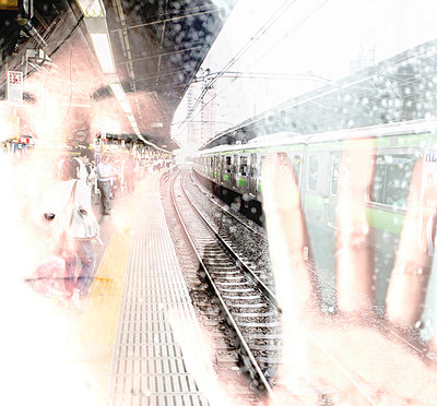 Face of Asian woman with closed eyes and japanese train station, double exposure - p300m980155 by Florian Löbermann