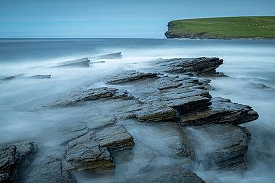 Coastal ledges near Marwick Head on the wild west coast of Orkney, Scotland, United Kingdom, Europe - p871m2209429 by Adam Burton