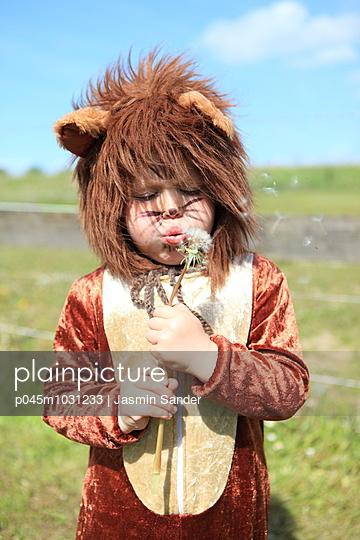Löwe pustet die Pusteblume - p045m1031233 von Jasmin Sander