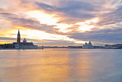 Italy, Venice, View on the island San Giorgio Maggiore and the Basilica di Santa Maria della Salute, right - p300m1101036f by Merle M.