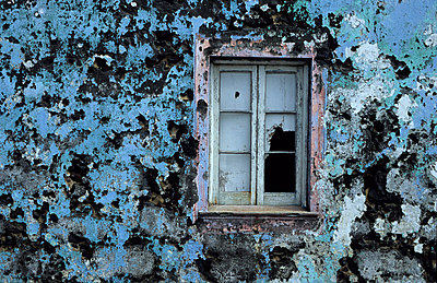 Close up of an old wall with broken window - p3485059 by Jörgen Larsson