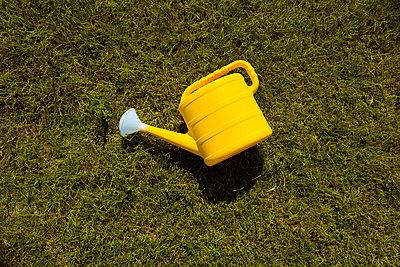 Gießkann liegt im Gras - p432m2008508 von mia takahara
