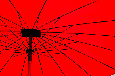 Red umbrella close up, Vientiane, Laos, Indochina, Southeast Asia, Asia - p871m731941 by Matthew Williams-Ellis