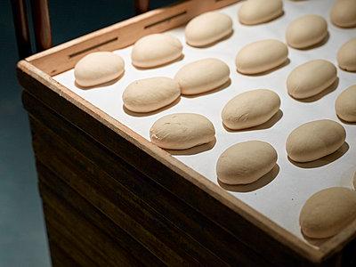 Brötchen Teiglinge im Kühlraum einer Bäckerei - p897m1183577 von MICK