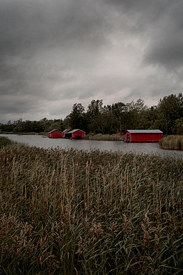 Old boathouses on Åland - p470m2208730 by Ingrid Michel