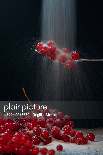 Red currant on spoon, close up - p300m2213680 by Brigitte Stehle