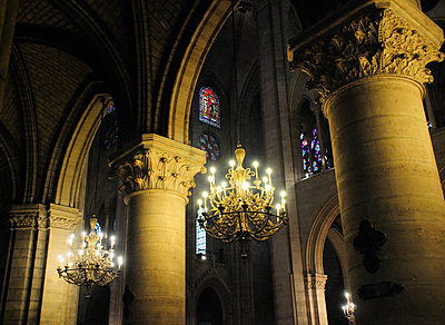 Columns and Chandeliers inside Notre Dame - p1072m2150770 by Neville Mountford-Hoare