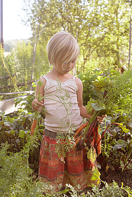 Girl holding vegetables - p312m1139703 by Wenblad-Nuhma
