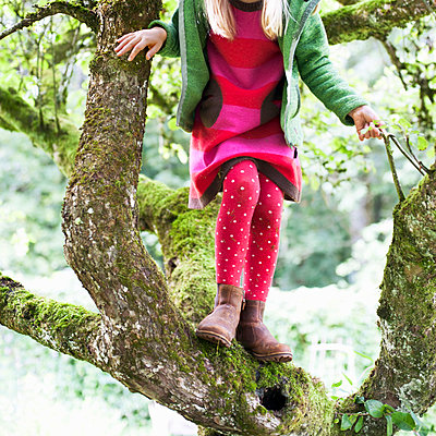 Girl climbing tree - p312m1164714 by Rebecca Wallin