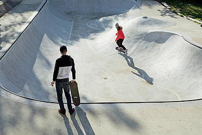 Two skateboarders - p445m2076816 by Marie Docher