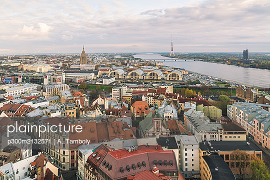 View of the city from above, Riga, Latvia - p300m2132571 by A. Tamboly