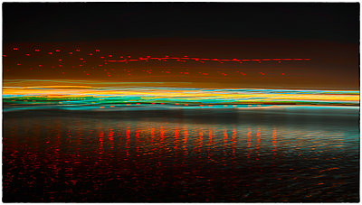Harbor Lights Abstract - p1154m2053621 by Tom Hogan