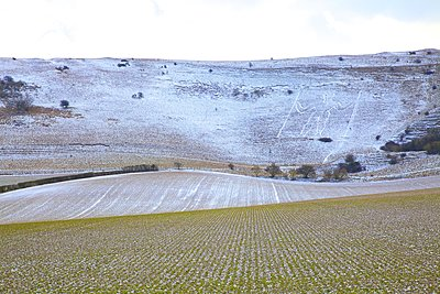 Snow covered Long Man of Wilmington, Wilmington, South Downs, East Sussex, England, United Kingdom - p871m2019695 by Neil Farrin photography