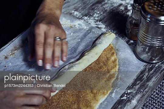 Sweden, Baking Cinnamon buns - p1573m2244353 by Christian Bendel