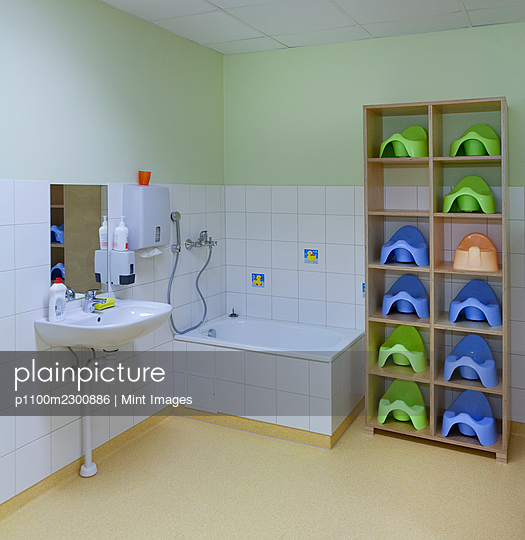 Modern day care nursery kindergarten school, spacious interiors, washroom and storage - p1100m2300886 by Mint Images