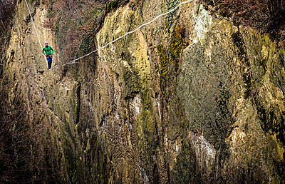 Highlining in southern Bavaria - p343m1026702f by Nicolas Armer