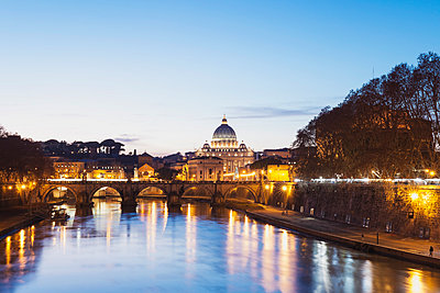 St. Peter's Basilica and Ponte Sant'Angelo in the evening - p300m961762 by Gaby Wojciech
