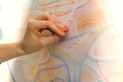 Cropped hand of painter drawing with chalk on artist's canvas - p1166m1577297 by Cavan Images