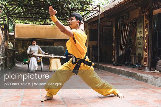 Vietnam, Hanoi, young man exercising Kung Fu - p300m2013201 von William Perugini