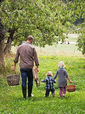 Father with two kids going to picking apples - p312m670269f by Matilda Lindeblad