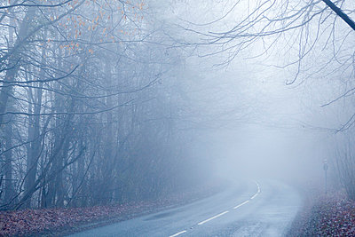 Foggy landscape with road - p388m701316 by Bill Davies