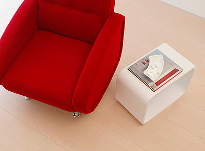 Red Armchair With Side Table  - p307m660334f by AFLO