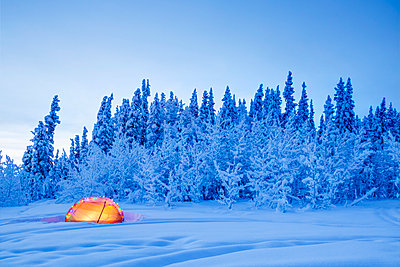 Winter scene at twilight with a tent decorated with Christmas lights in the foreground, Southcentral Alaska, USA, Winter - p442m1225051 by Kevin G. Smith