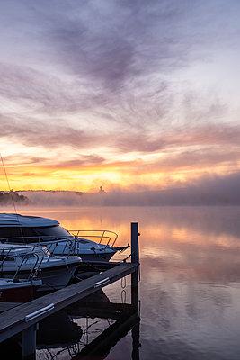 Marina in the morning fog - p739m2128186 by Baertels