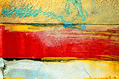 New Mexico, Abstract Close-Up Of Paint On Wall. - p442m934901 by Ray Laskowitz