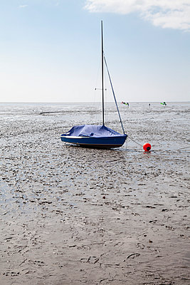 Germany, Lower Saxony, East Friesland, Norddeich, boat in tideland - p300m949089 by Wilfried Wirth