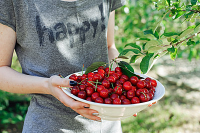 Teenager holding a plate with sweet cherries - p1412m1584258 by Svetlana Shemeleva