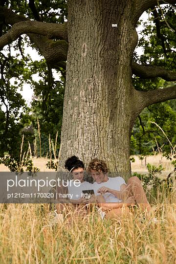 Junges Paar unter dem Baum - Tablet - p1212m1170320 von harry + lidy
